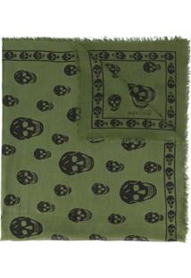 ... Alexander Mcqueen Echarpe De Seda Com Estampa De Caveira - Green f54310eb928