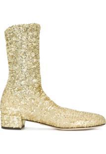 Dolce & Gabbana Ankle Boot De Couro - Metálico