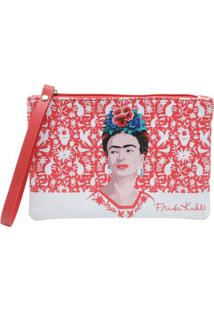 Carteira Frida Kahlo Red Birds And Flowers Fundo Branco 18 X 12 Cm