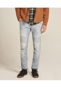 Calça Jeans Masculina Skinny Com Recorte Azul Claro