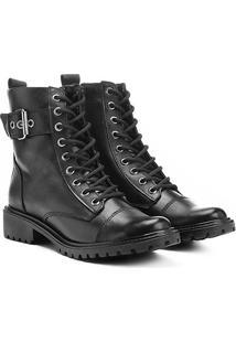 Bota Couro Coturno Shoestock Fivela Feminina - Feminino