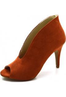 Sapato Scarpin Abotinado Salto Alto Fino Em Camurça Ferrugem