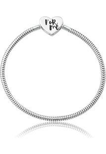 Pulseira De Prata 925 Charms De Coração Com Zircônias - 16Cm
