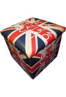 Puff Bau Porta Treco Dobra Assento Vintage Retro London Bandeira Keep Calm