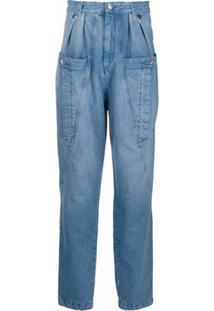 Isabel Marant Calça Jeans Cintura Alta Com Bolso Oversized - Azul
