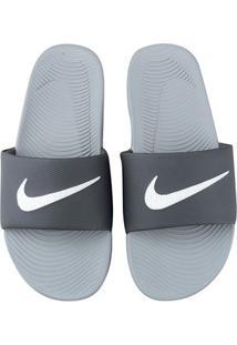 Sandália Nike Kawa Slide Masculina - Masculino-Branco+Cinza