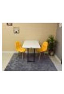 Conjunto De Mesa 120 X 75 Branca + 2 Cadeiras Botonê - Amarela