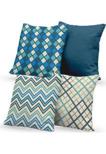 Kit 4 Capas De Almofadas Decorativas Own Geométricas Bege E Azul 45X45 - Somente Capa
