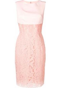 Sophia Kah Vestido Com Recortes De Renda - Rosa