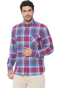 Camisa Linho Timberland Slim Mystic River Azul/Rosa