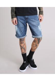 Bermuda Jeans Masculina Reta Destroyed Com Bolsos Azul Escuro