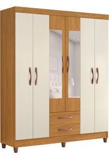 Guarda-Roupa Casal Com Espelho Ambar 6 Pt 2 Gv Carvalho E Off White