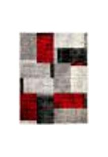Tapete Fuji Retangular Polipropileno (100X140) Cinza E Vermelho
