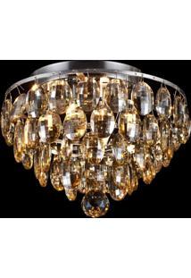 Plafon Sobrepor De Cristal Kri 24 Cmx27 Cmxx Bella Iluminação Âmbar