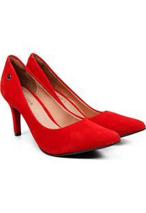 Scarpin Via Uno Bico Fino Nobuck Salto Alto - Feminino-Vermelho