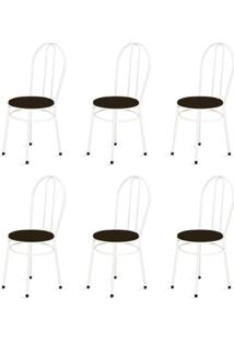 Kit 6 Cadeiras Baixas 0.134 Redonda Branco/Tabaco - Marcheli