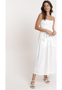 Vestido Saída De Praia Midi Com Linho E Botões Alça Fina Off White