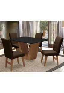 Conjunto De Mesa Para Sala De Jantar Com 4 Cadeira Veneza-Dobue - Cedro / Preto / Chocolate Vlp