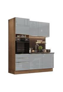 Cozinha Compacta Madesa Lux Com Armário E Balcão 5 Portas 3 Gavetas Rustic/Cinza Rustic