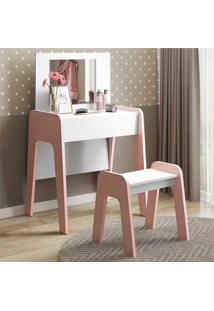 Penteadeira Com Espelho, Banco E 1 Gaveta Com Organizador Doçura Multimóveis Branco/Rosa