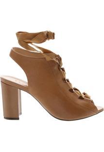 Sandal Boot Block Heel Lace-Up Caramelo | Schutz