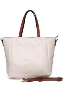 Bolsa Nice Bag Tote Ombro Transversal Tassel Feminina - Feminino-Off White