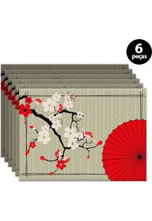 Kit 6Pçs Jogo Americano Mdecor Sushi 40X28Cm Bege