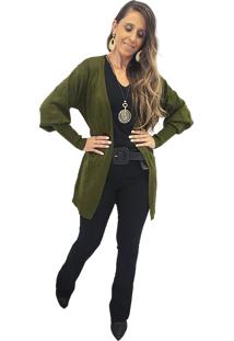 Cardigan Alongado Tricot Mania De Sophia Pelotinhas Verde Militar