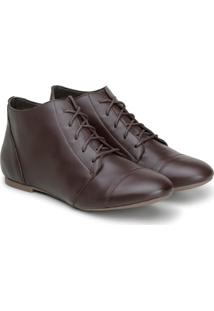 Bota Feminina Casual Confort Cano Curto Ankle Boot Cavalaria Café - Tricae