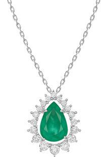 Pingente Em Ouro Branco 18K Com Diamante E Esmeralda