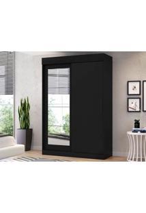 Guarda-Roupa 2 Portas Com Espelho Bolt Preto Fosco – Lc Móveis