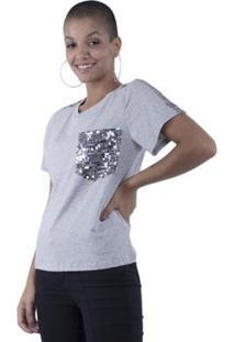 Blusa Pop Me T-Shirt Detalhes Paetê Feminina - Feminino-Mescla