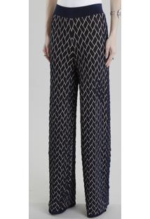 Calça Pantalona Gig Couture Em Jacquard De Tricô Geométrico Azul Marinho
