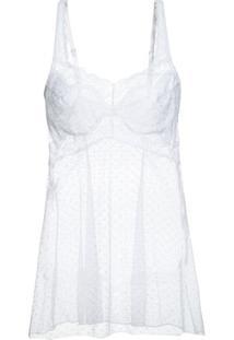Camisola Curto Sem Manga Renda Vivienne Loungerie – Branco