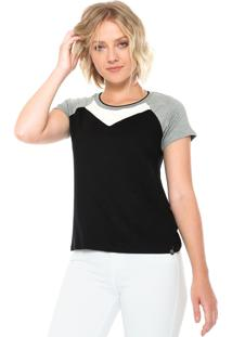 Camiseta Lunender Recortes Preta/Cinza