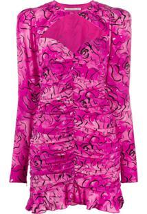 Alessandra Rich Vestido Franzido Com Estampa Abstrata - Roxo