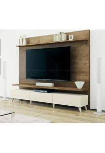 Estante Home Theater 2 Gavetas Para Tv Até 60 Polegadas Boss 180 X 218 X 40 Madeira Touch/Off White - Imcal