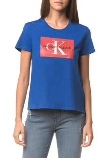 Blusa Ckj Fem Logo - Azul Médio - Pp
