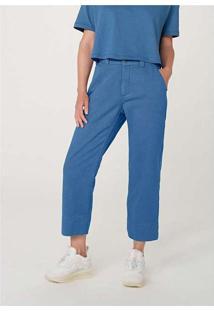 Calça Feminina Wide Leg Em Sarja De Algodão Azul