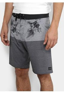 Bermuda Hang Loose Boardshorts Hibiscus Masculina - Masculino-Cinza