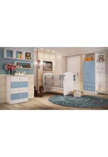 Quarto De Bebê Completo Fofura Com Guarda Roupa 2 Portas Cômoda E Berço Siena Móveis Branco/Azul