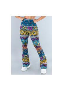 Calça Feminina Mvb Modas Flare Pantalona Suplex Etnico