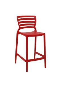 Cadeira Alta Tramontina 92127040 Sofia Com Encosto Vazado Vermelho