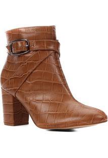 Bota Couro Shoestock Croco Cano Curto Feminina - Feminino-Caramelo