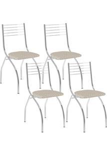 Cadeira 146 Cromada 04 Unidades Retrô Metalizado Carraro