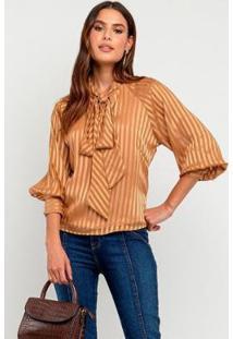 Blusa Elora Illusion Glam Feminina - Feminino-Caramelo