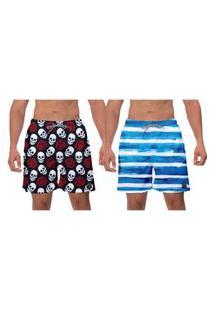Kit 2 Shorts Moda Praia Caveiras Brancas Vermelhas Listras Azuis Estampado Poliéster Elastano Esporte Banho W2