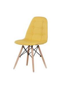 Cadeira Madrid Couro Amarelo Base Madeira 83Cm - 62662 Amarelo