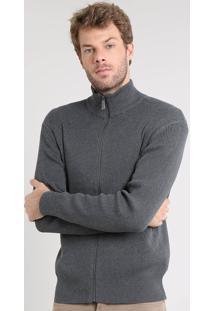 Jaqueta Masculina Slim Fit Canelada Em Tricô Cinza Mescla Escuro