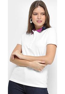 Camisa Polo Lacoste Lisa Feminina - Feminino-Branco
